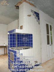 Облицовка кафелем печей,  стен.