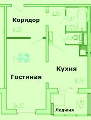 Продам 1 комн. квартиру на ул.Республики,  35! ВСЕГО : 2600 т.р.! ЦЕНТР